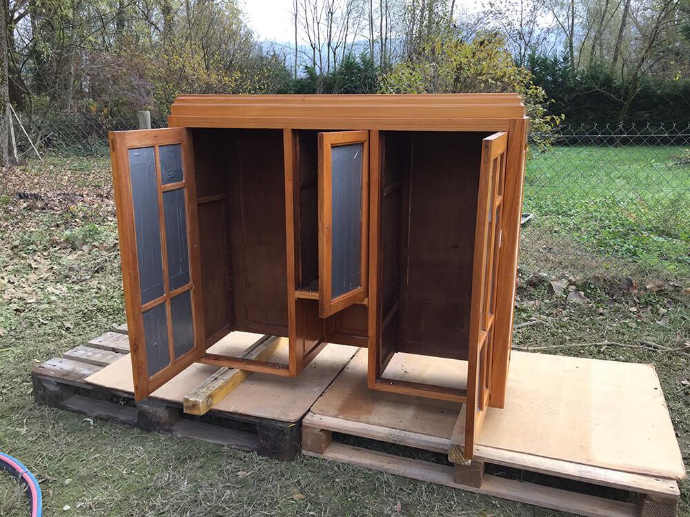 Restauration de meuble en bois arpès aérogommage à Grenoble