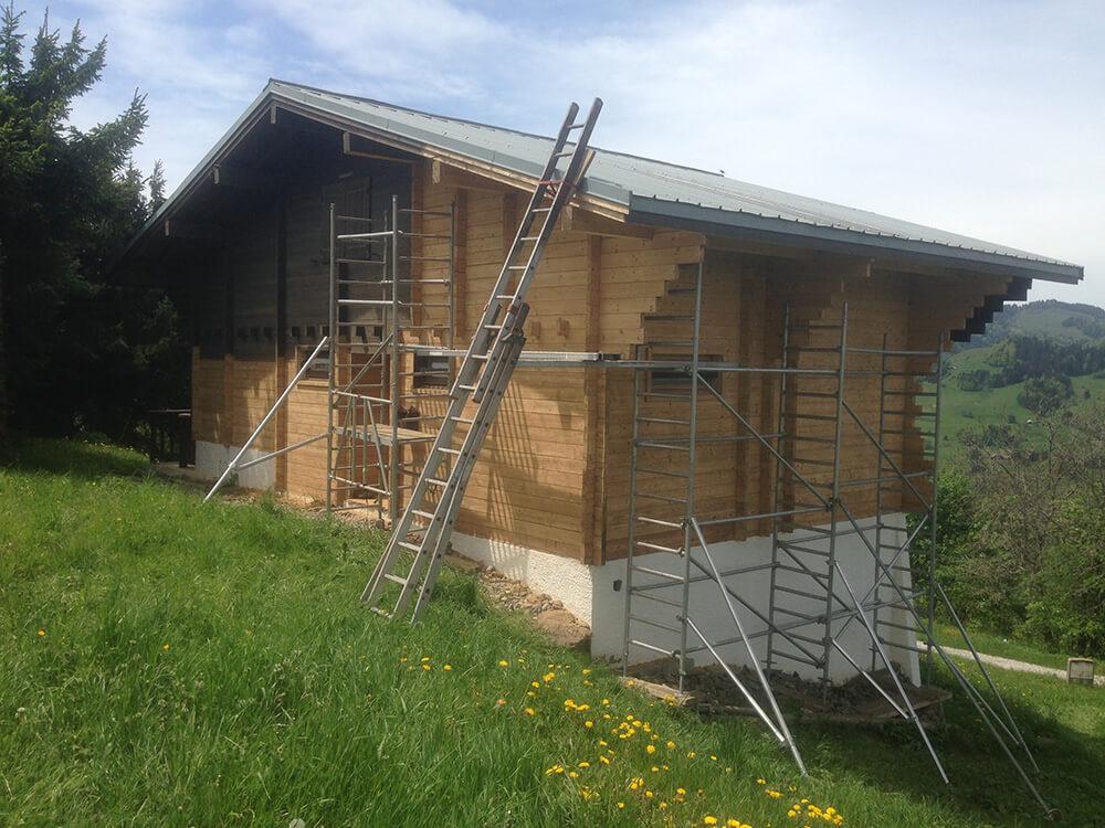 Après nettoyage chalet bois par sablage à Moutiers (73 Savoie)